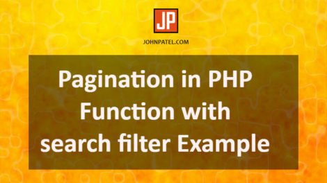 Pagination in PHP Function With Search Filter Example