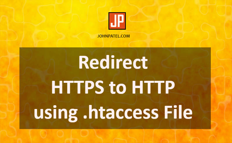 Redirect HTTPS to HTTP using .htaccess File